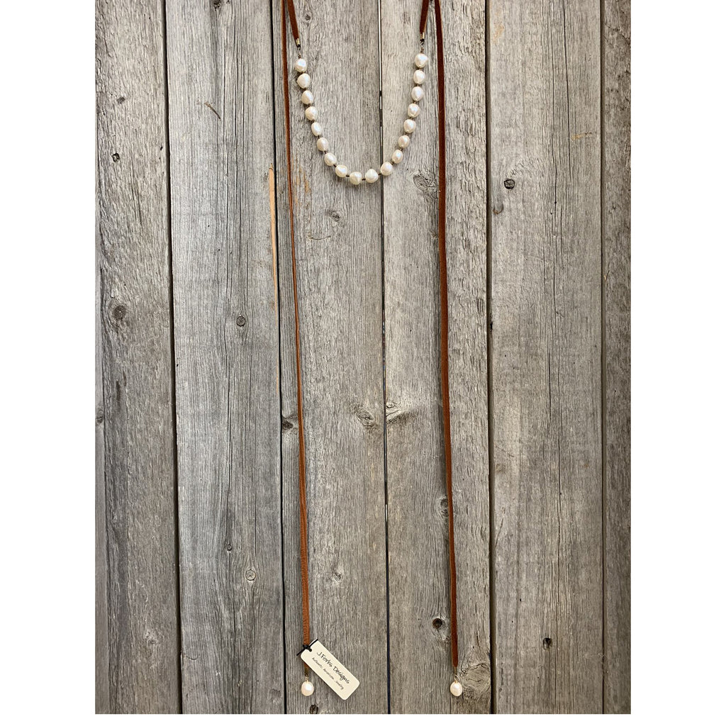 J.Forks Freshwater Pearl Leather Wrap Necklace