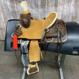 "Shiloh Youth Roper Saddle with Basket Weave Background and a Feather, 10"" seat"