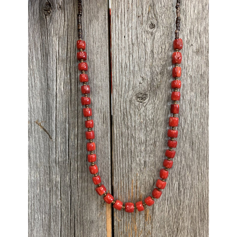 J.Forks Designs Small Barrel Coral Necklace