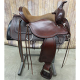 Circle Y Apache Trail Saddle with Shell Boarder and Tan Seat, 16 Inch