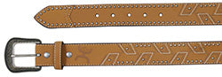 Hooey Men's Natural Belt with Stacked Embroidery