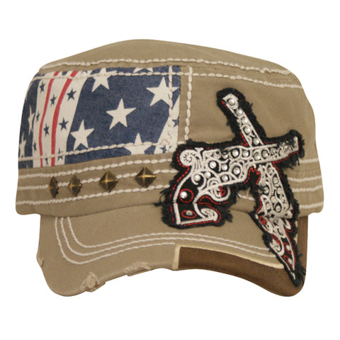 Trenditions Tan Canvas Cap with Flag and Guns