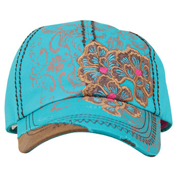 Turquoise Blue and Brown Floral Cap