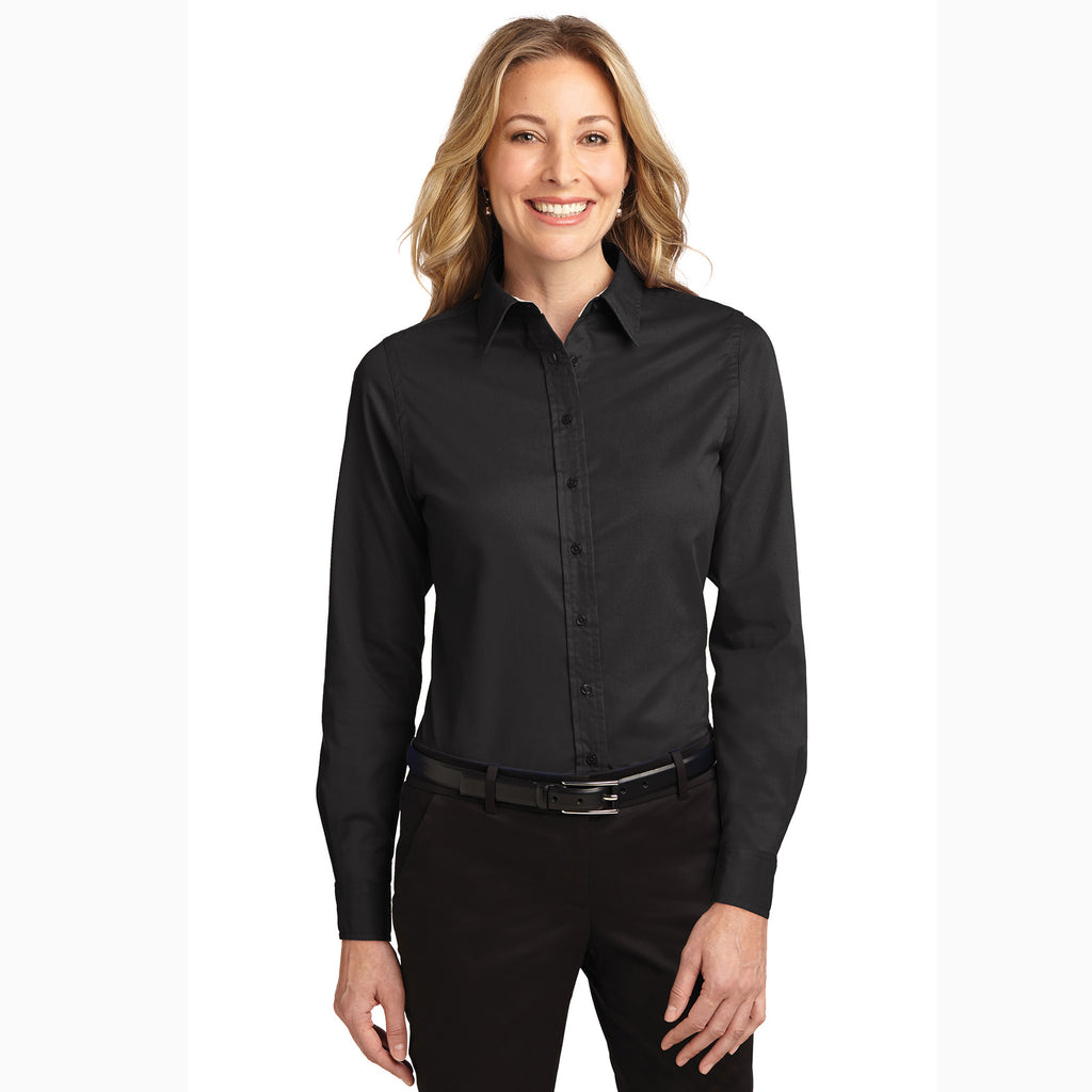 Ladies Solid Black Button Down Shirt