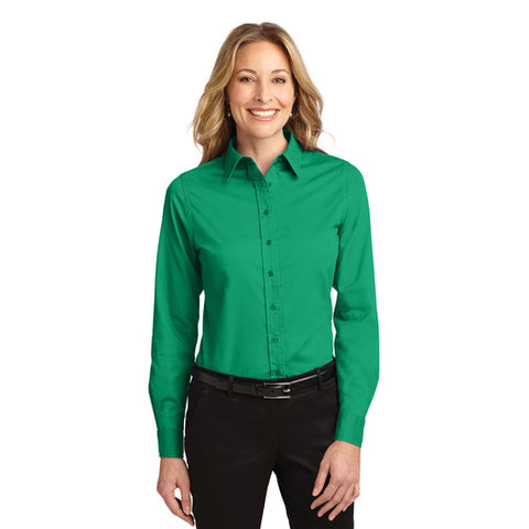 Port Authority Women's COURT GREEN Long Sleeve Easy Care Shirt