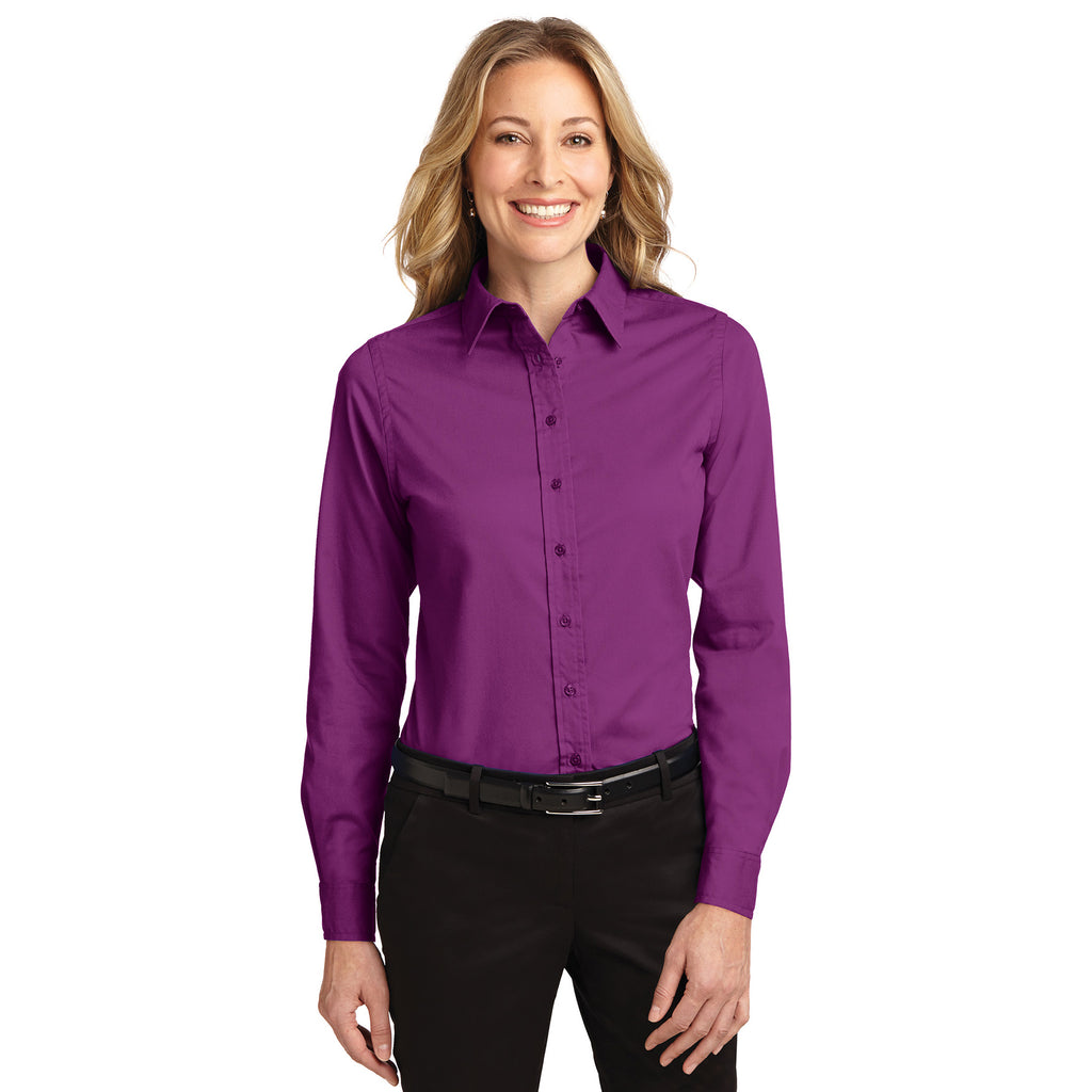 Port Authority Women's DEEP BERRY Easy Care Long Sleeve Shirt