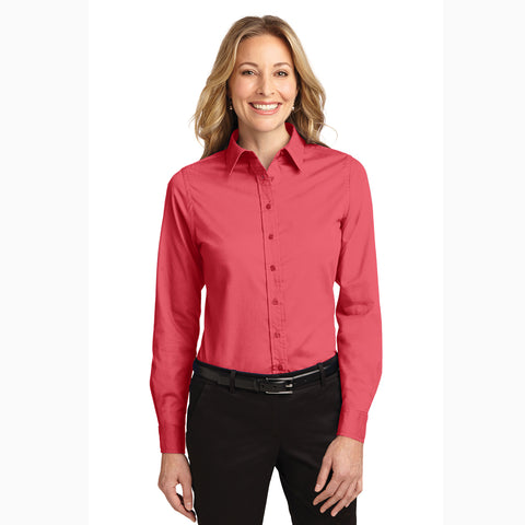 Women's Solid Hibiscus Long Sleeve Shirt
