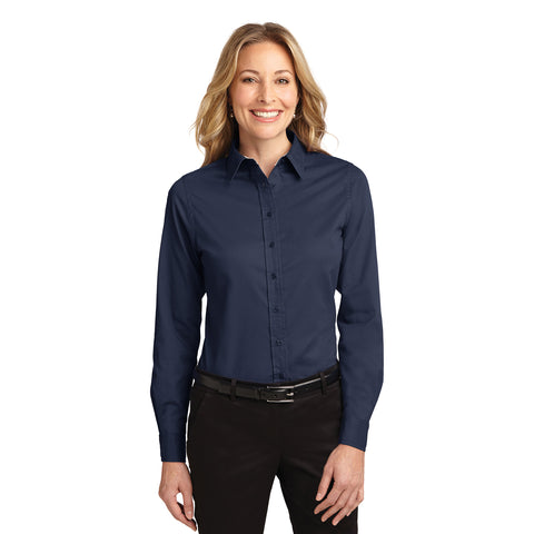Port Authority Women's NAVY Easy Care Long Sleeve Shirt