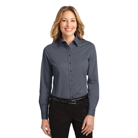 Port Authority Women's Steel Grey Easy Care Long Sleeve Shirt