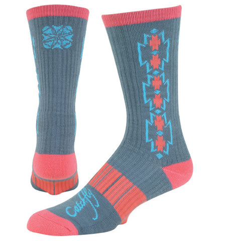 Catchfly Women's Grey, Turquoise and Coral Aztec Performance Sock