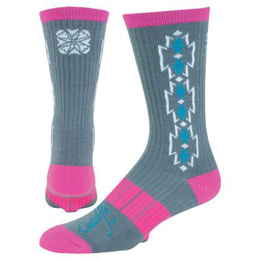 Catchfly Women's Grey, Turquoise, and Pink Aztec Performance Sock