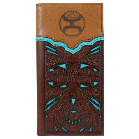 Hooey Brown and Turquoise Tooled Rodeo Wallet