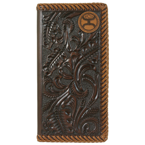 Hooey Brown Tooled Lace Edges Rodeo Wallet