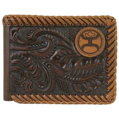 Hooey Brown Tooled Laced Edges Bifold