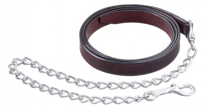 Dark Oiled Leather Lead/Chain