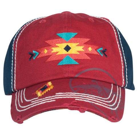 Maroon and Navy Aztec Cap