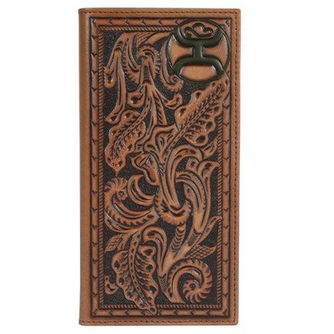 Hooey Saddle Brown Floral Tooling Rodeo Wallet