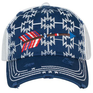 Catchfly Navy Aztec and White Mesh Arrow Cap