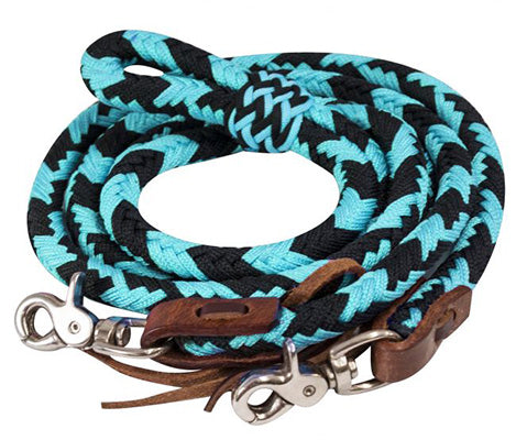 Showman Teal Braided Barrel Reins