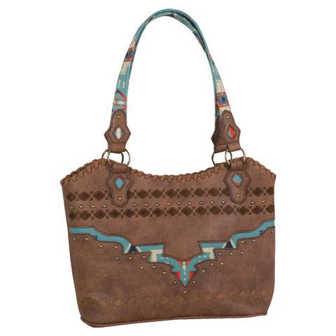 Women's Brown and Turquoise Aztec Handbag