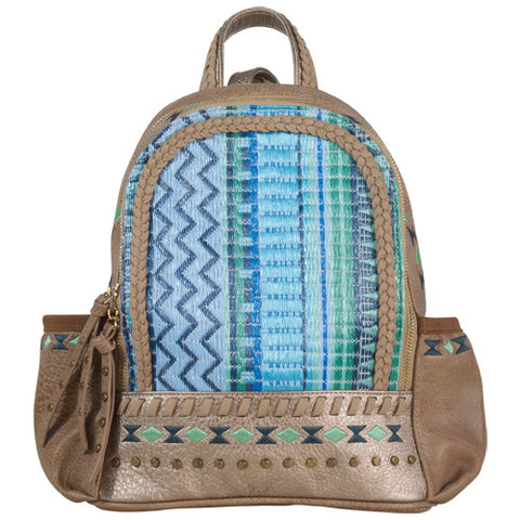 Blue and Green Leather Backpack