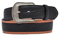 3D Men's Black Distressed  Caiman Belt