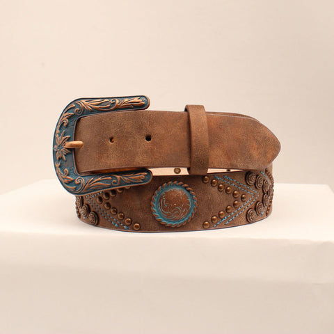 Women's Brown and Turquoise Concho Belt