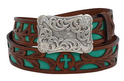 Brown Hand Tooled Leather Belt