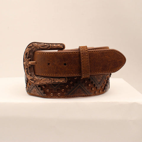 Women's Brown and Copper Studded Belt