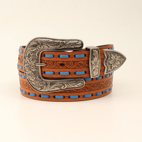 Women's Brown and Blue Floral Laced Belt