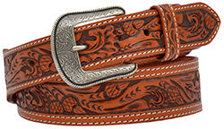 Men's Natural Acorn Hand Tooled Belt