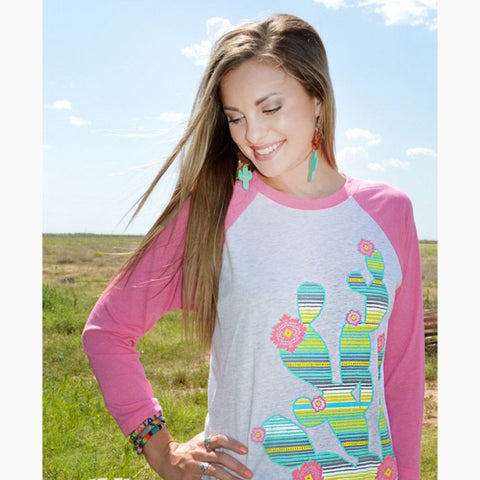 Crazy Train Pink Cactus Baseball Tee