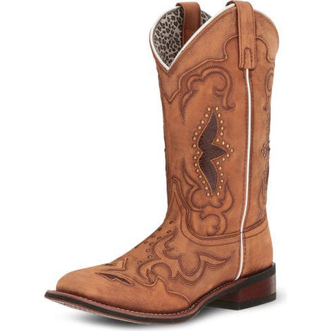 Dan Post Women's Tan Inlay Spellbound Square Toe Boot