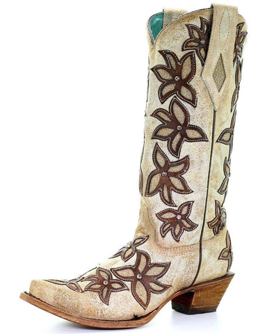 Corral Women's Bone Brown Floral Overlay Boots