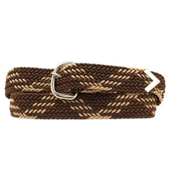 Brown and Tan Braided Web Belt