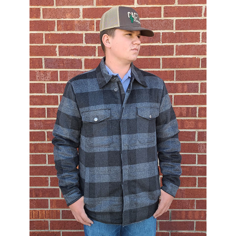 Grey Plaid Shirt Jacket
