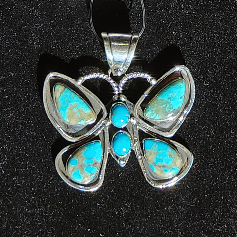 6 Stone Butterfly Pendant