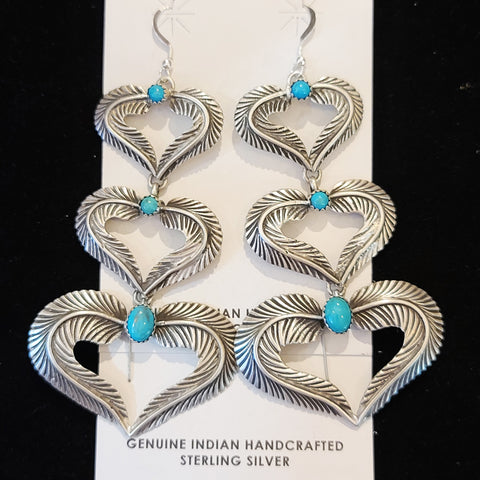 3 Heart Turquoise & Silver Earrings
