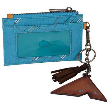 Turquoise Mini ID Holder with Arrows