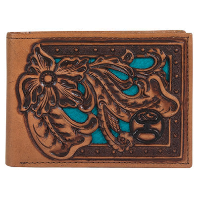 Hooey Black Logo Floral Tooled Bifold
