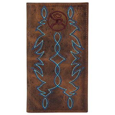 Hooey Brown Blue Boot Stitched Wallet