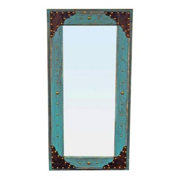 Rustic Turquoise Wooden Mirror