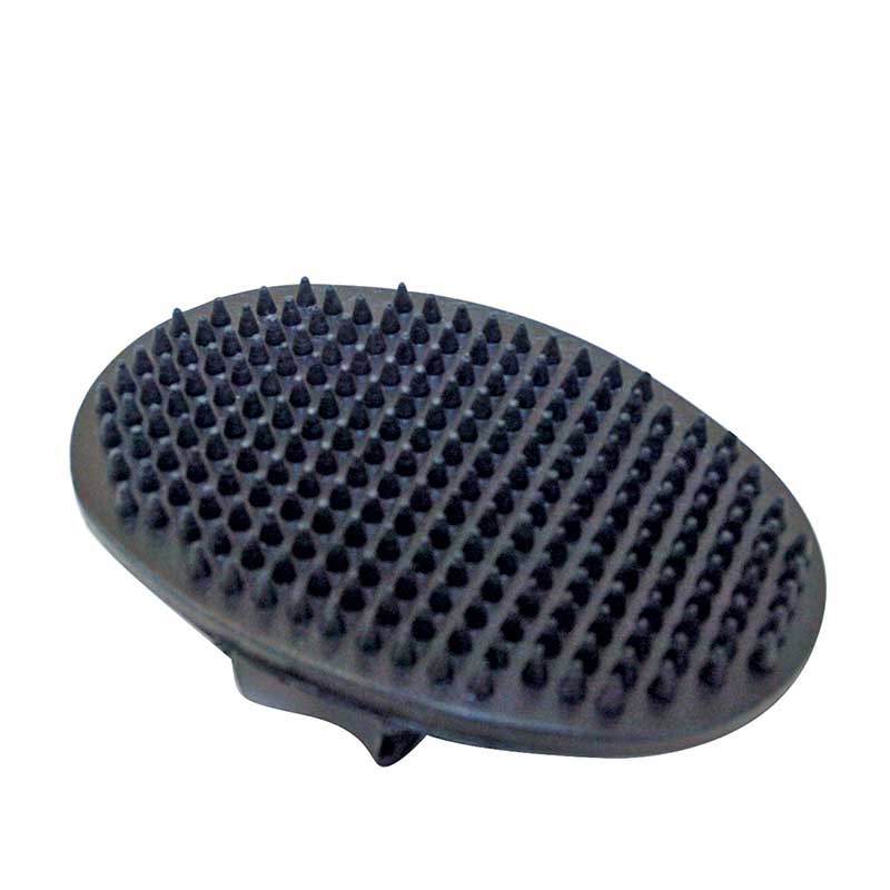 Black Rubber Facial Oval Curry Comb