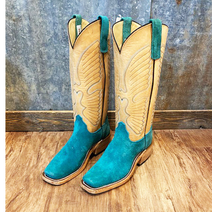 Olathe Wyoming Teal Roughout Boots