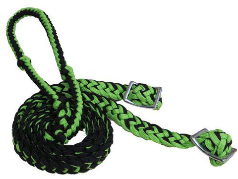 Showman Black and Lime Green Braided Nylon Barrel Reins