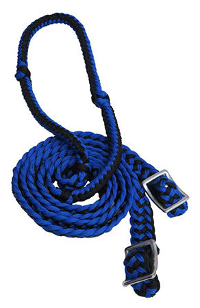 Showman Black and Blue Braided Nylon Barrel Reins