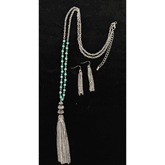Silver Dangle Turquoise Set