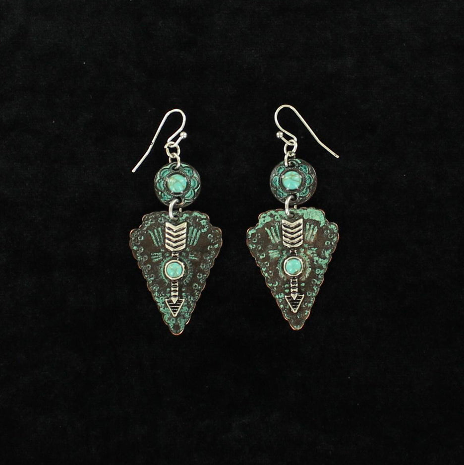 Patina and Turquoise Arrow Head Earrings