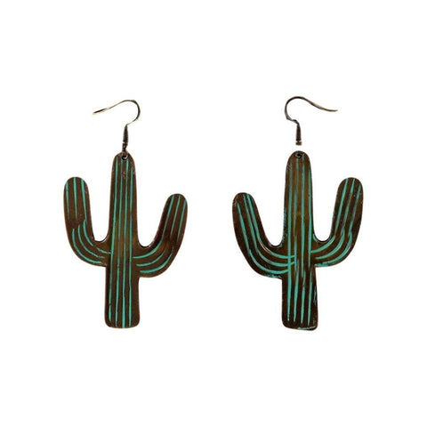 Blazin Roxx Western Jewelry- Copper and Turquoise Cactus Earrings