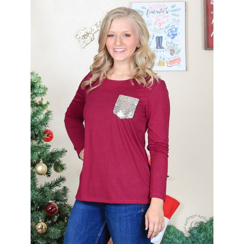 Burgundy Sequin Pocket Long Sleeve Tee